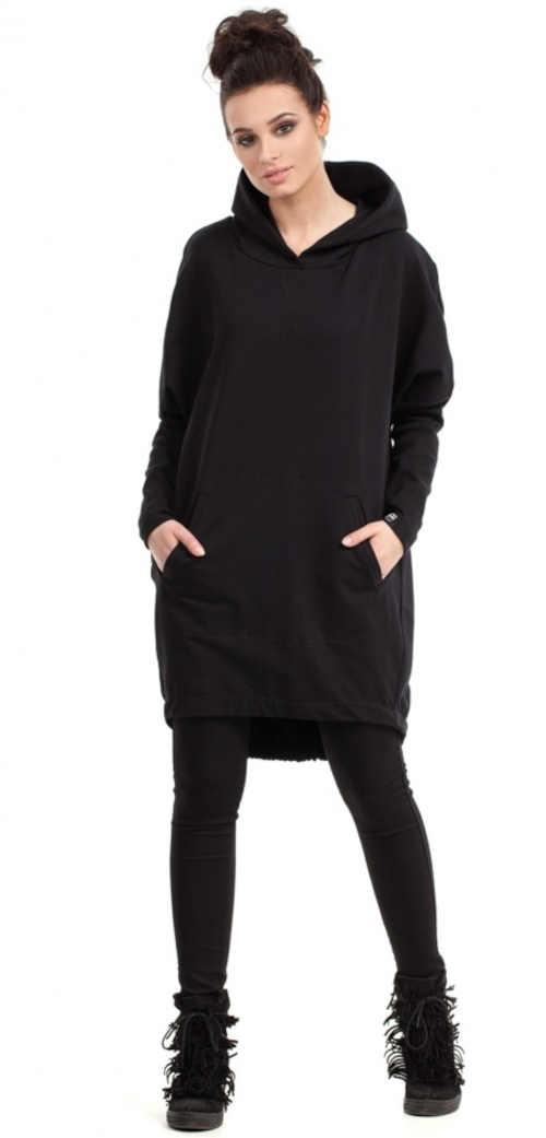 černá dámská dlouhá mikina
