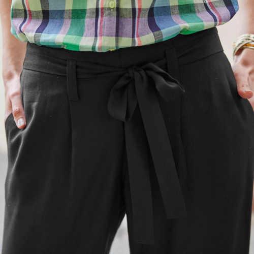dámské stylové 3-4 kalhoty s páskem