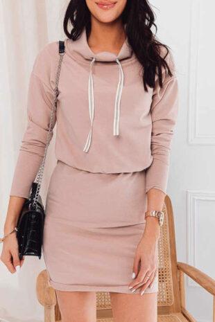 Béžové šaty v krátké sexy délce s dlouhým rukávem