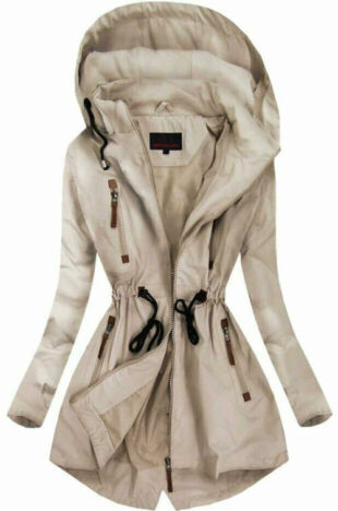 Dámská parka s odnímatelnou kapucí a kapsami na zip