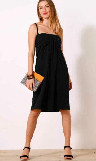 Jednobarevné elegantní šaty s odnímatelnými ramínky