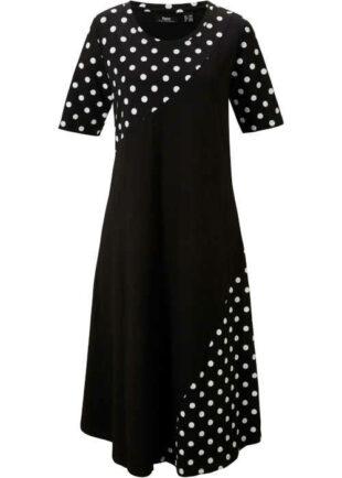 Moderní dámské áčkové šaty s puntíkatým potiskem