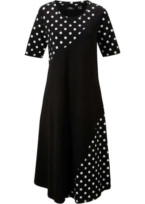 Moderní dámské áčkové šaty pro plnoštíhlé s puntíkatým potiskem