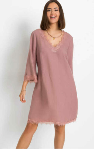 Moderní dámské komfortní lněné šaty s krajkovými detaily