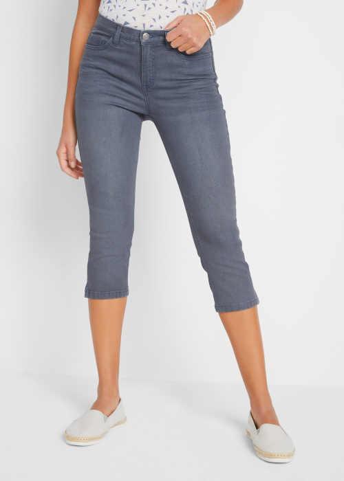 Moderní dámské strečové plus size džíny v délce pod kolena