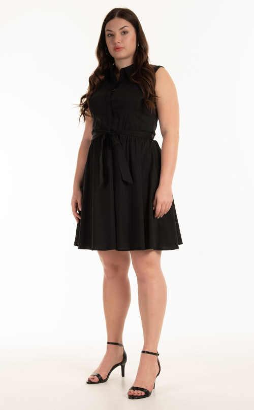 Stylové šaty košilového střihu bez rukávů v délce nad kolena