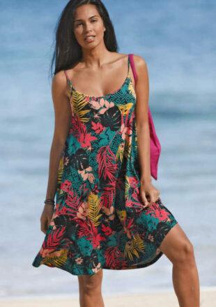 Volné šaty na úzká ramínka v moderním květovaném vzoru