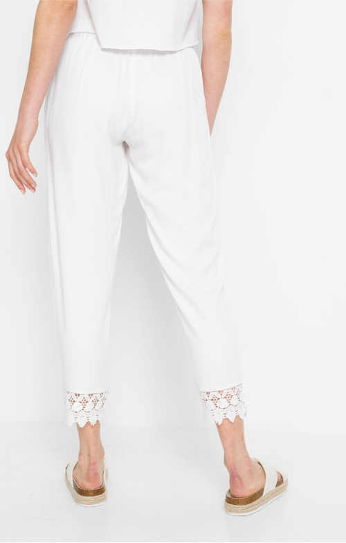 kalhoty v bílém provedení do gumy