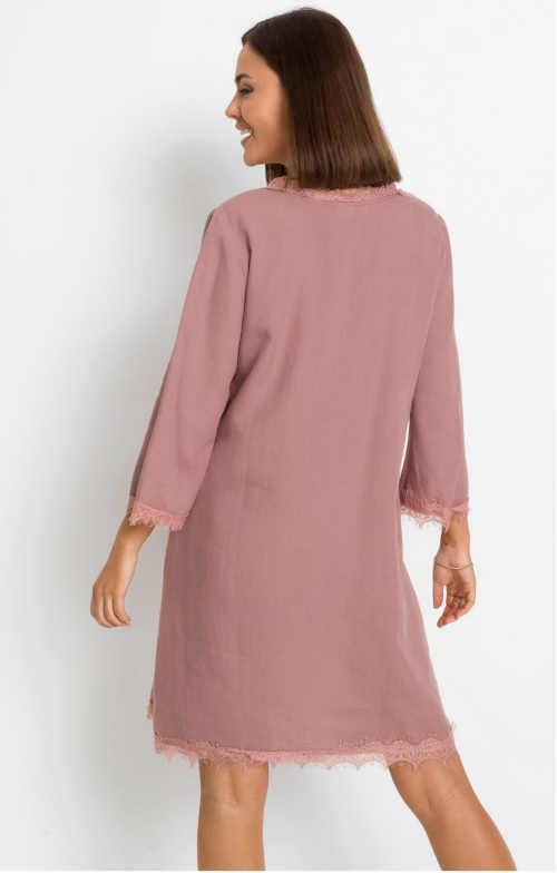 lněné dámské šaty s krajkou
