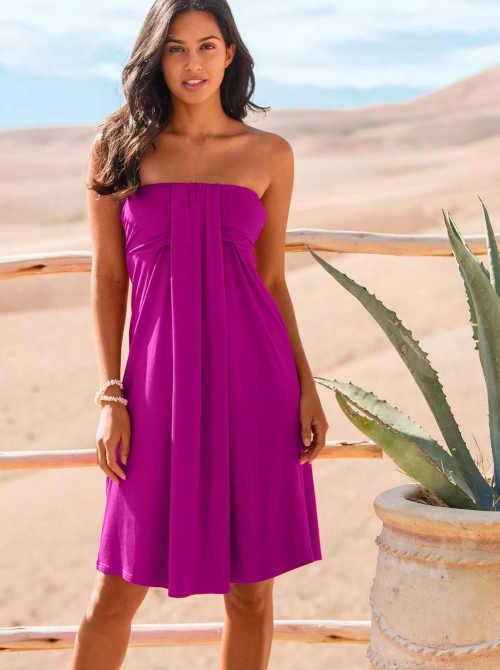 šaty purpurové barvy nad kolena