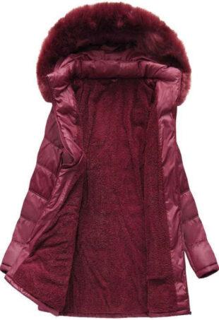 zimní bunda v bordó barvě