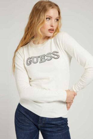 Krémový lehký svetřík Guess s výrazným nápisem vpředu