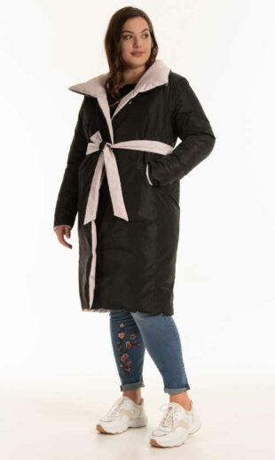 Oboustranná zimní moderní prošívaná bunda s páskem