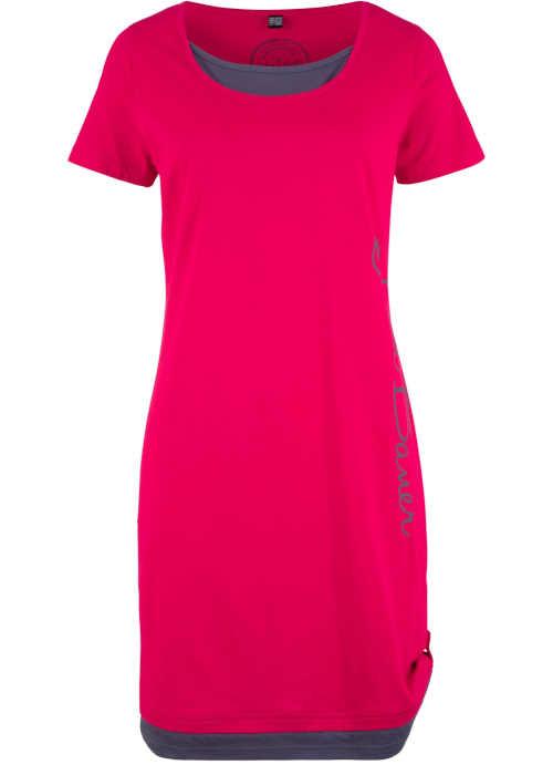 Úpletové červeno-šedé šaty s potiskem a krátkým rukávem