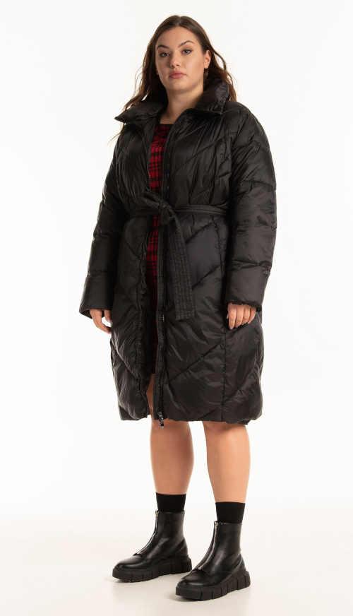 zimní dlouhá černá bunda