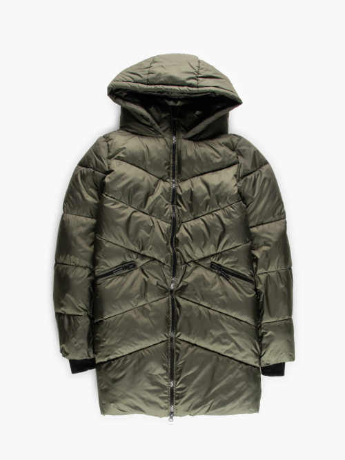 Dámská prošívaná bunda s kapucí v lesklém provedení
