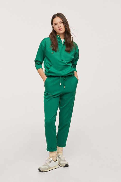 Dámská stylová mikina Mango s kapucí v zeleném provedení