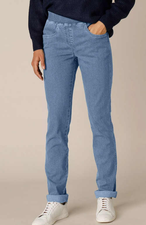 Dámské džíny v rovném střihu do pohodlného pružného pasu