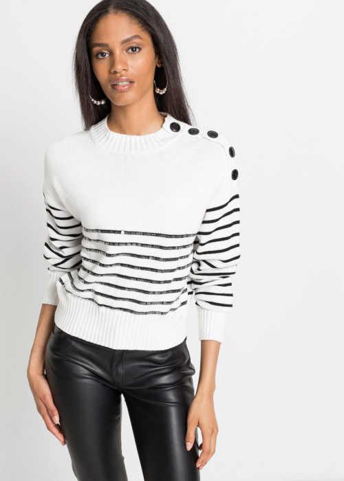 Módní dámský pulovr v nadčasovém střihu s dekorativními knoflíky