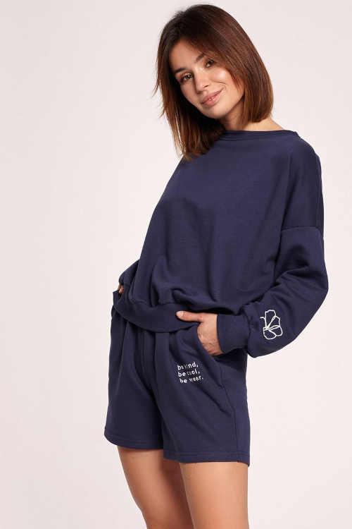 Modré dámské stylové šortky s potiskem do pružného pasu