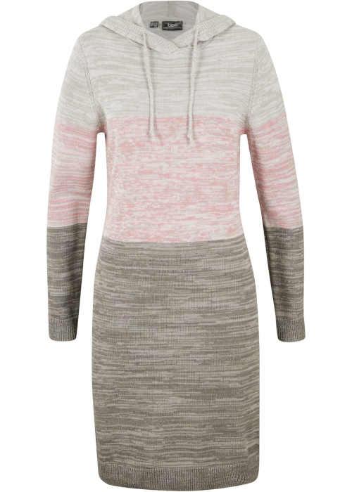 Pletené růžovo-šedé šaty s kapucí a dlouhým rukávem