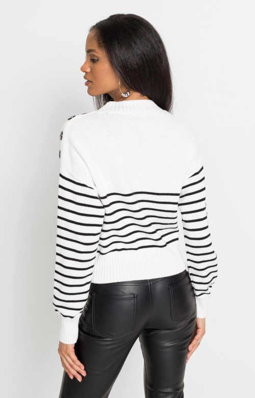 dámský pulovr v proužkovaném vzoru