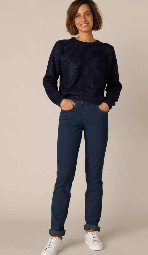 tmavě modré dámské rovné džíny